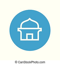 Masjid or islamic mosque logo icon, vector line art style, mosque sign