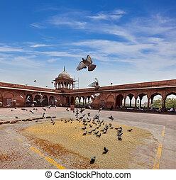 masjid, palomas, mezquita, jama