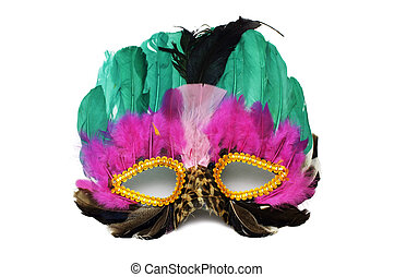 Mask - A colourful, decorative, feathered mask isolated on...