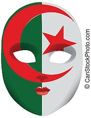Mask Algeria - Classic mask with symbols of statehood of...