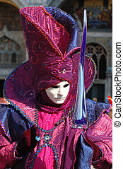 Mask at Carnival of Venice - Mask at St. Mark\'s Square...