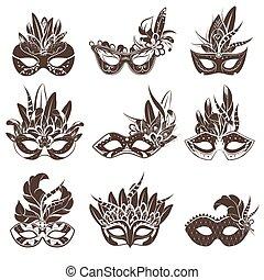 Mask Black White Icons Set