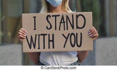 mask., carton, mains, rue, protestataire, monde médical, ...