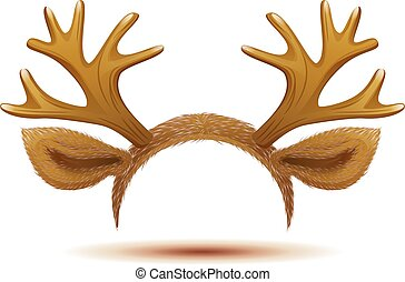 Mask Deer antlers and ears. Isolated on white vector...