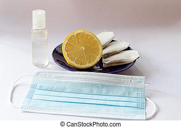 Mask drape lemon tea antibacterial disinfectant