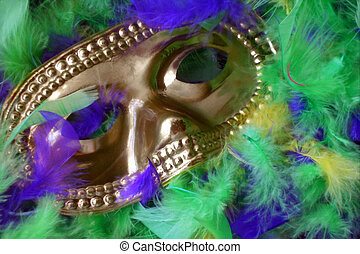 Mask & Feathers - Gold mask on purple, gold, and green ...