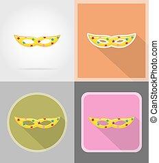 mask for celebration flat icons vector illustration