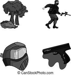 Mask, gun, paint, inventory .Paintball set collection icons in monochrome style vector symbol stock illustration web.