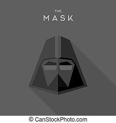 Mask Hero superhero flat style icon vector logo, illustrations, villain