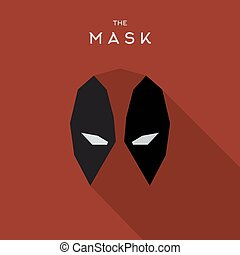 Mask Hero superhero flat style icon vector logo,...