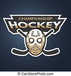 mask., hockey, emblem., gardien de but, glace, logo