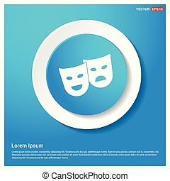 Mask Icon Abstract Blue Web Sticker Button - Free vector...