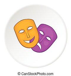 Mask icon, cartoon style