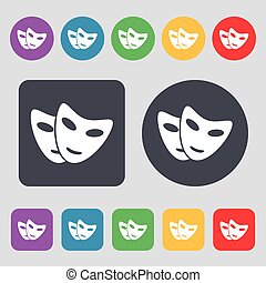 mask icon sign. A set of 12 colored buttons. Flat design. Vector
