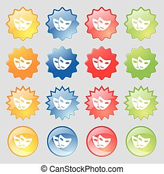 mask icon sign. Big set of 16 colorful modern buttons for your design. Vector