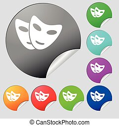mask icon sign. Set of eight multi colored round buttons, stickers. Vector
