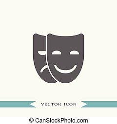 Mask icon vector theater illustration