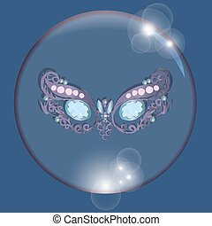 mask in bubble with reflections on a blue background
