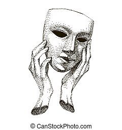 Mask in hands. Theater Actor tattoo. Hypocrite, pretender, trickster, many faces. Vintage black and white template. drama portrait. hand made drawing.