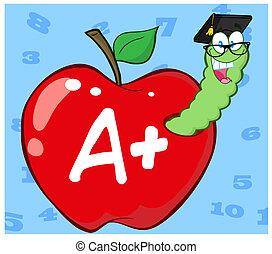 mask, in, rött äpple, med, akademiker hylsa