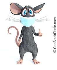 mask., interpretación, ratón, caricatura, cara, llevando, 3d