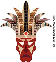 Mask isolated on a white background. Ethno. Tribal style. Vector