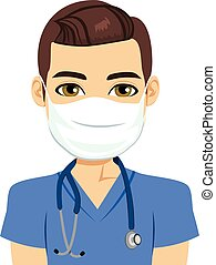 Mask Nurse Male - Young male nurse wearing surgical...