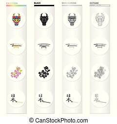 Mask of a dragon, a Japanese sword of a katana, a branch of an Oriental cherry, a hieroglyph. Japan set collection icons in cartoon black monochrome outline style vector symbol stock illustration web.