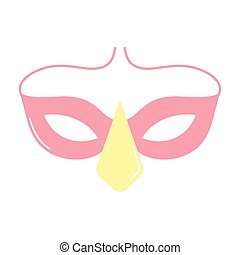 mask of a pink color on white background