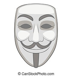 Mask of anonymous icon, gray monochrome style