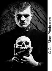 mask of depression - A young man dressed in black with a...
