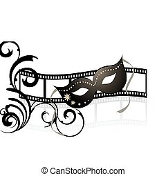 vector illustration of a venetian mask and floral elements on a filmstripe