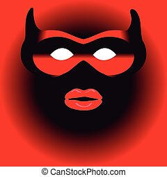 Mask on red background