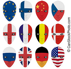 Mask painted with a flag