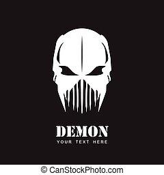 mask., predator., demon., biały, alien.