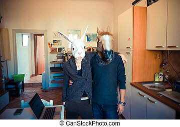 mask rabbit and horse couple in love