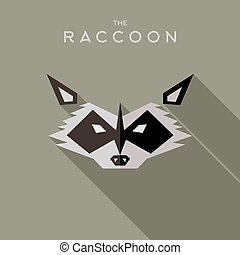 Mask raccoon Hero superhero flat style icon vector logo,...