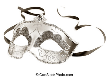 Mask - Sepia toned carnival mask on white background