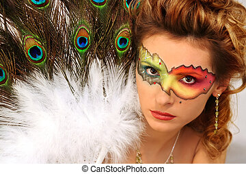 mask - lady with fantasy makeup and peacock\\\'s fun