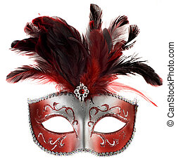 mask - red and silver feathered mask isolated on a white...