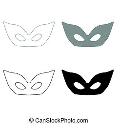 Mask   the black and grey color set icon .