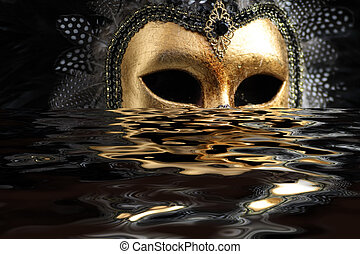 Mask - Venetian mask decorated with gold leaf and embedded ...