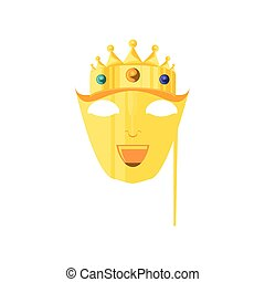 mask with crown of king for carnival in stick
