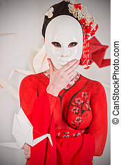 mask woman - Art portrait of a stylized Japanese geisha with...