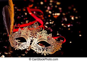 mask., złoty, karnawał