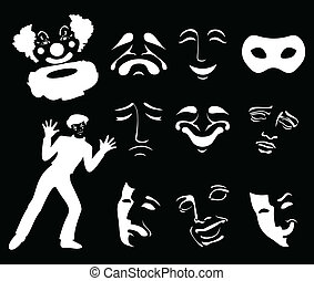 Mask6 - Set of icons of masks of fun and grief. A vector...