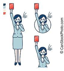 mask_red-card, mujer, traje, simple, empresa / negocio