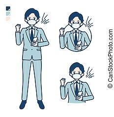 mask_smartphone-anger, simple, traje, hombre de negocios