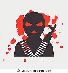 maska, balaclava, terrorysta, ikona