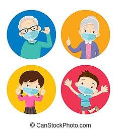 maska, chodząc, chirurgiczny, dziadkowie, dzieci, zapobiegać...